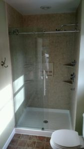 Converted walk-in shower